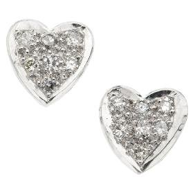 A 14K white gold pair of stud earrings with 14