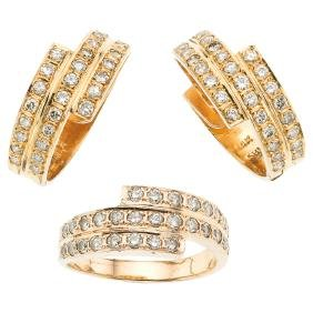 A 14K yellow gold set of ring and pair of hoop earrings