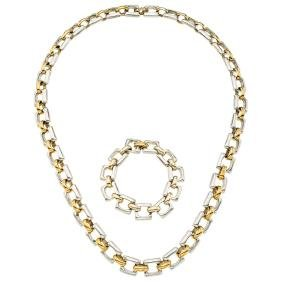 A TANE sterling silver and vermeil set of necklace and