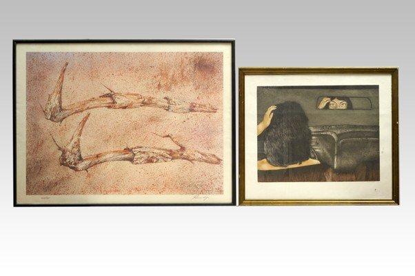 """4: Dos obras gráficas. a) Mario Reyes. """"Retrovisor de l"""