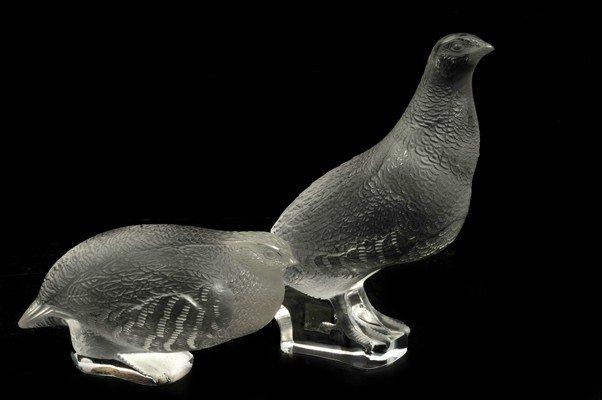 23: Par de figuras de aves. Elaboradas en cristal de La
