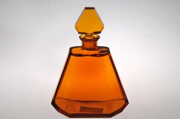 German glass decanter, orange color, 26 cms height.