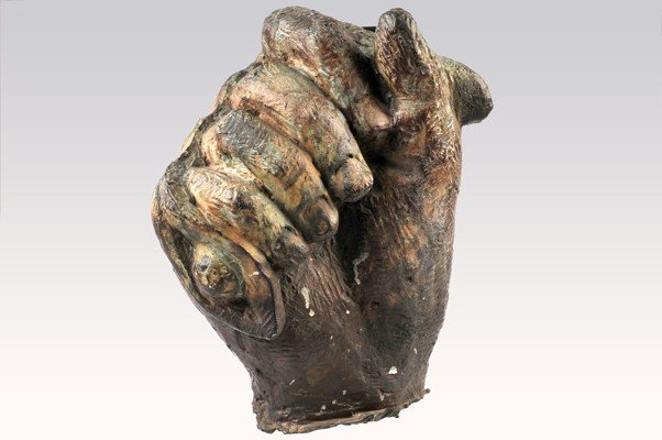 Hand, made in bronze, 37 cms height.