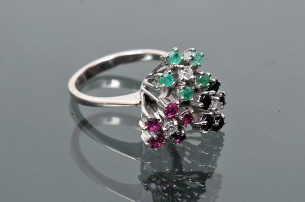 Ring, flower design, made in paladium, zafires and rubi