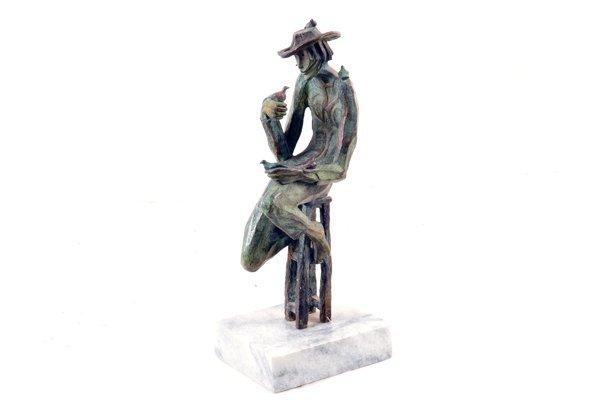 Anónimo. Pajarero. Fundición en bronce patinado, serie