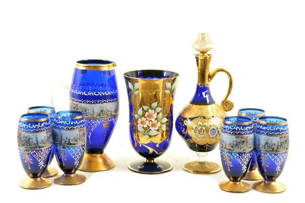 Lote de cristalería. Origen italiano. Murano. En color