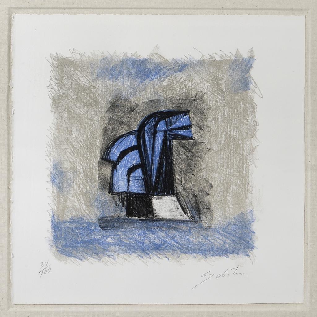 SEBASTIAN, Caballito azul, Firmada. Litografía 34 /
