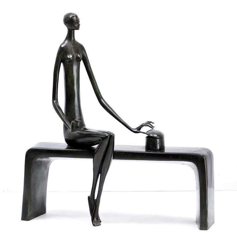 CHARLOTTE YAZBEK, Pandora, 1965, Firmada. Escultura en