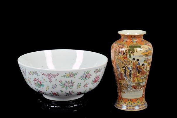Lote de tazón y florero. Origen hongkonés y chino. En