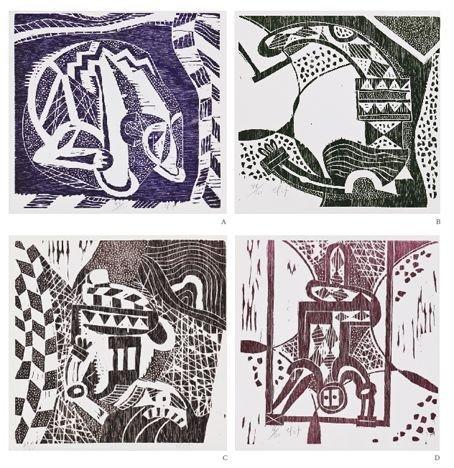 RODOLFO NIETO a) Circo I, II, III y IV,  Xilografías