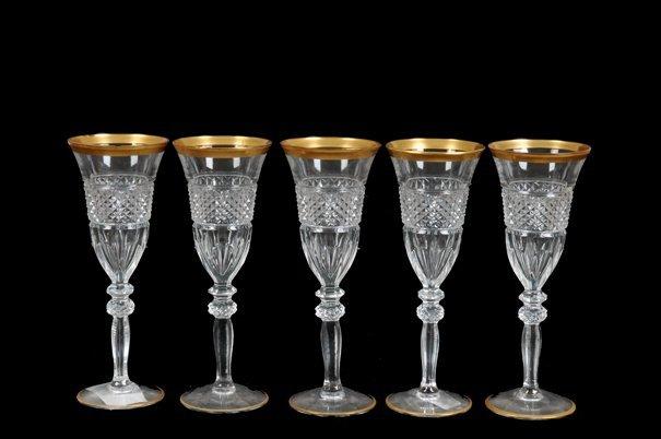Juego de copas para champagne en cristal cortado lot 0018 for Copas de cristal