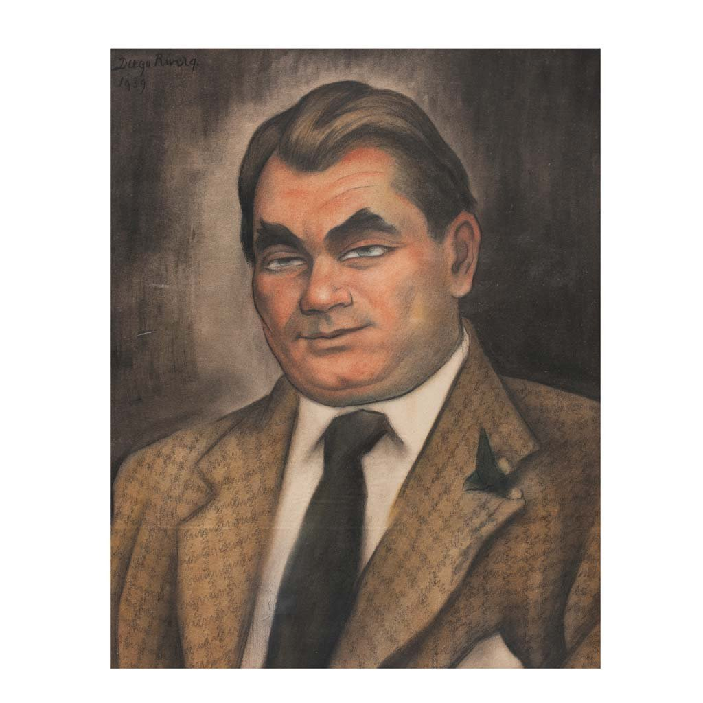 DIEGO RIVERA. Portrait of Oskar Homolka. Signed and