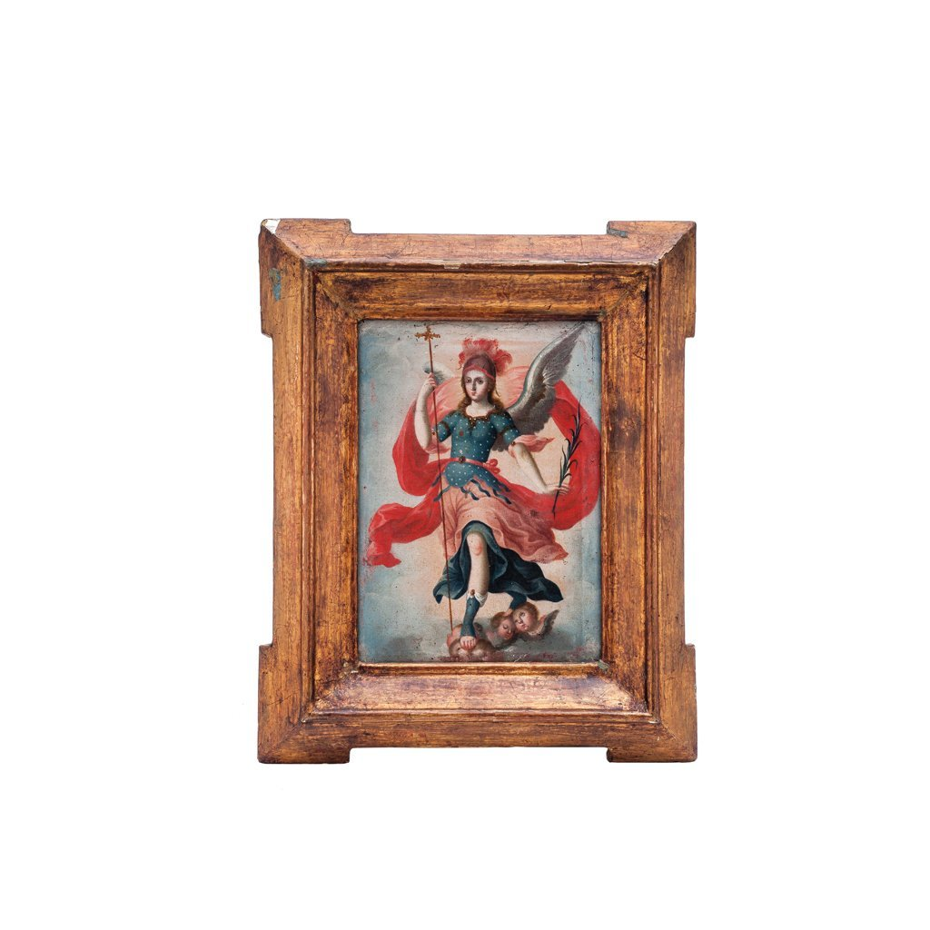 ARCHANGEL MICHAEL. Mex, Late 18th Century. Oil on