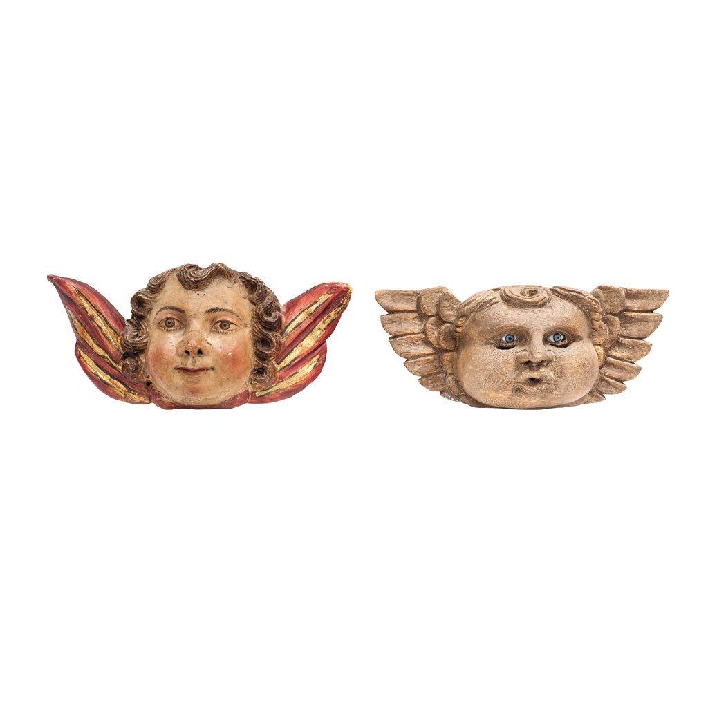 PAIR OF CHERUB FACES. MEX, 20th Century. Carved