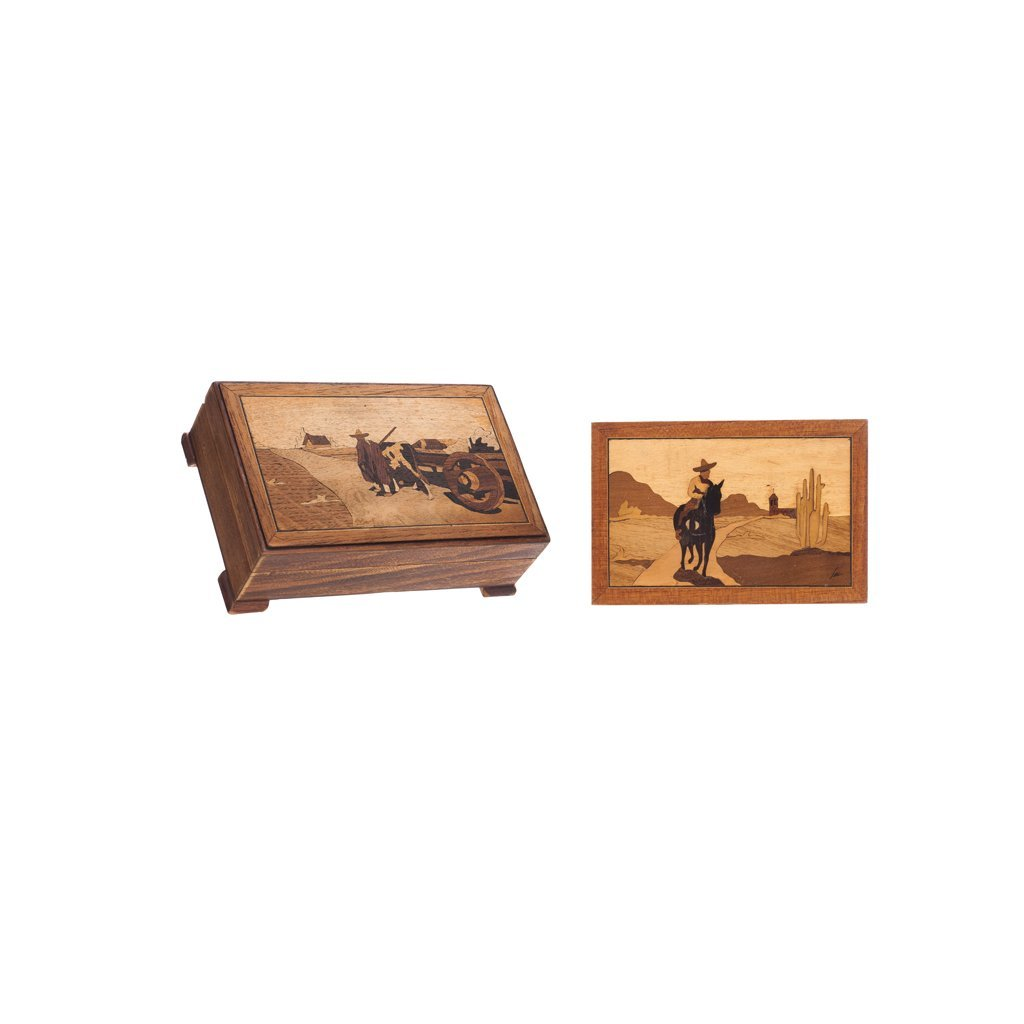 PAIR OF BOXES. MEX., 20th century. Wood decorated with