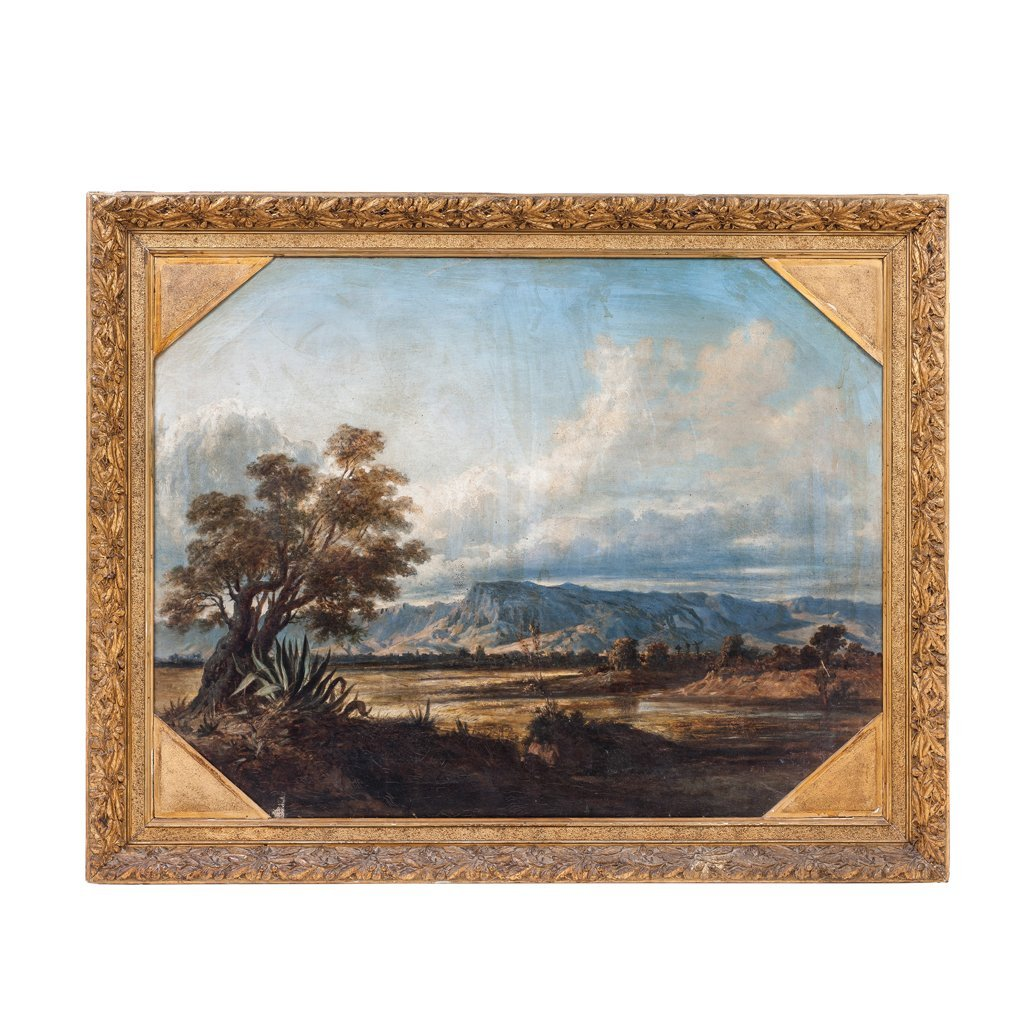 VIEW OF DURANGO (?). MEX., late 19 th century. Oil on