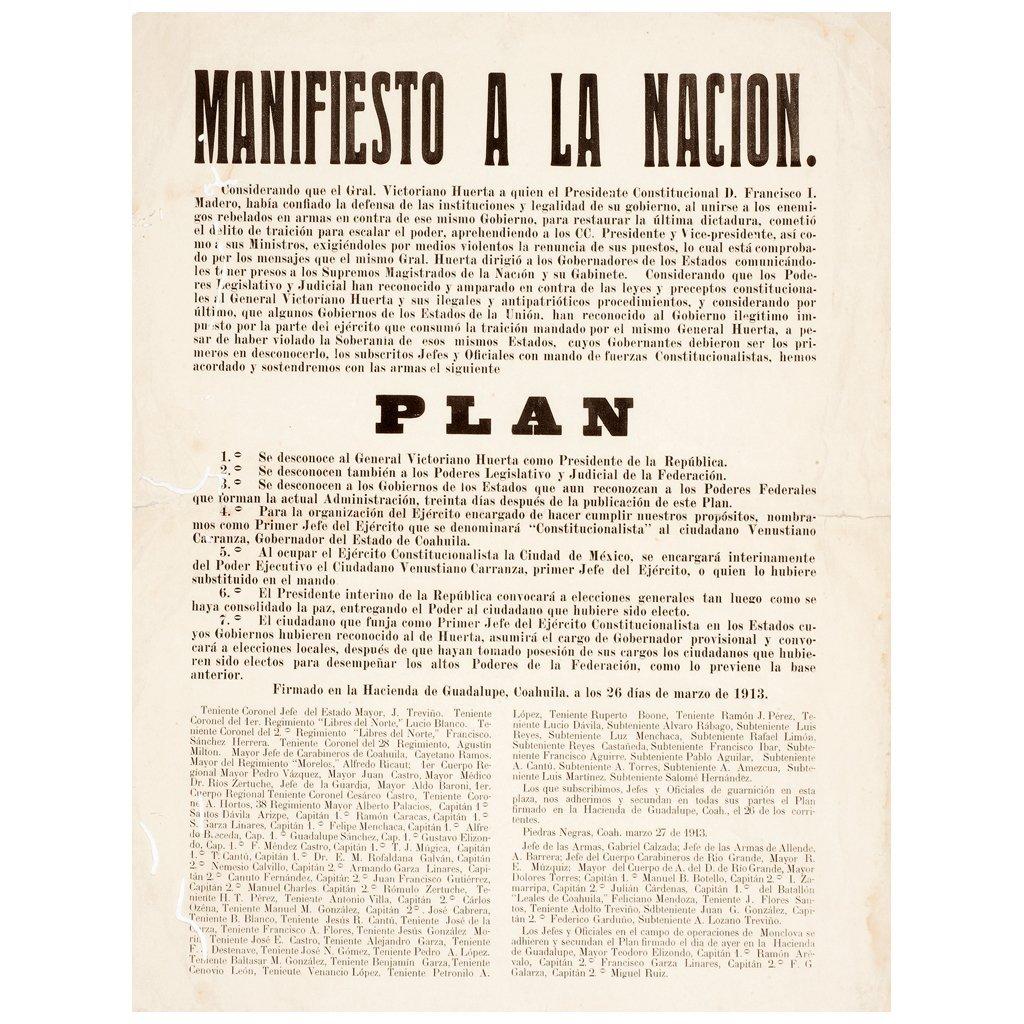 Manifiesto a la Nacion. Adhesion al Plan de Guadalupe.
