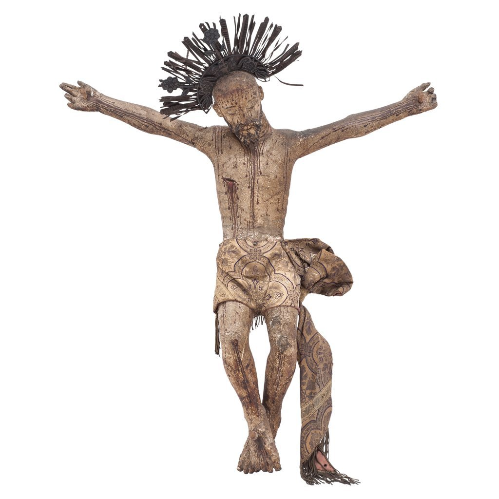 CHRIST. MEXICO, 18th CENTURY. Polychrome wood carving.