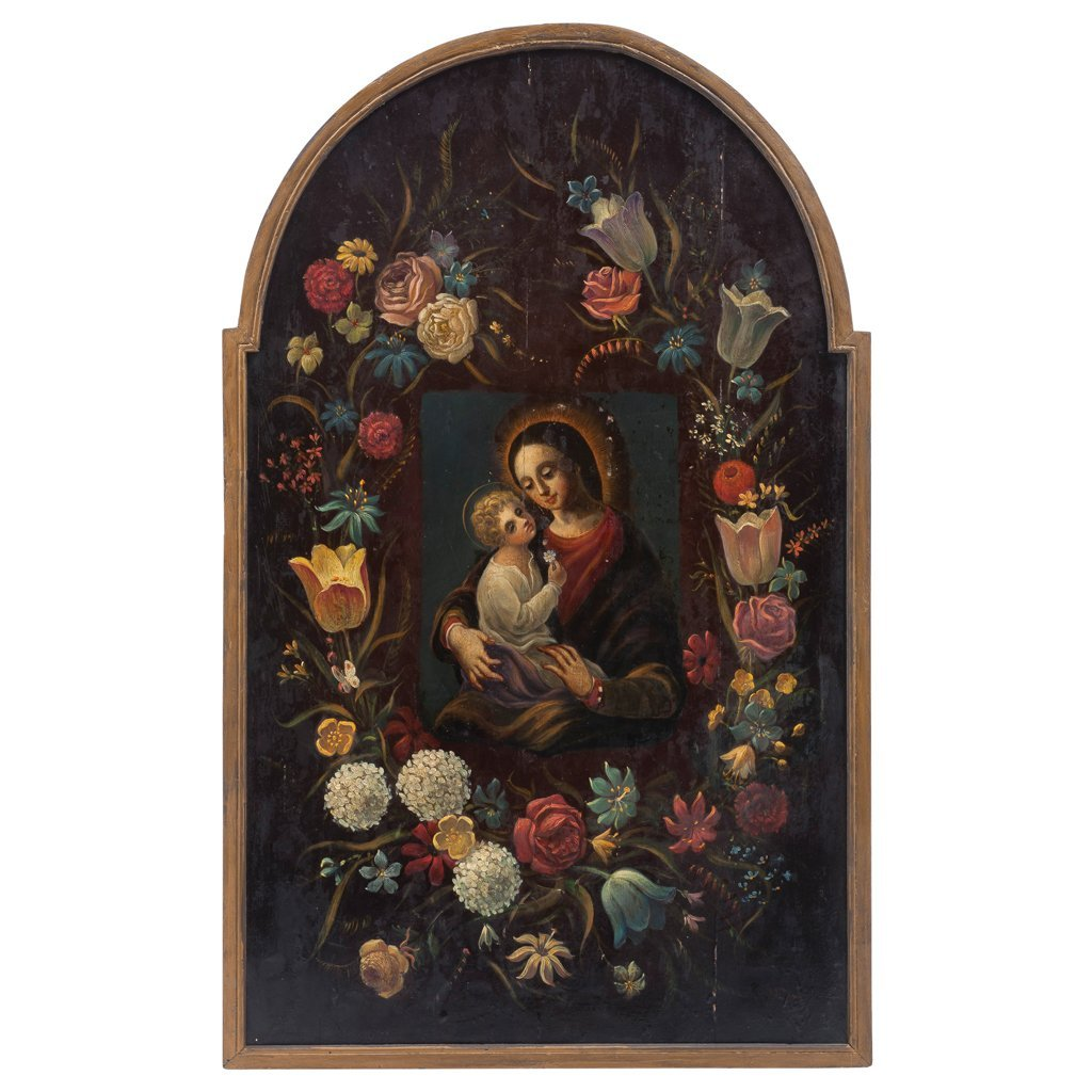 FLOWER WREATH WITH VIRGIN MARY AND THE CHILD JESUS.