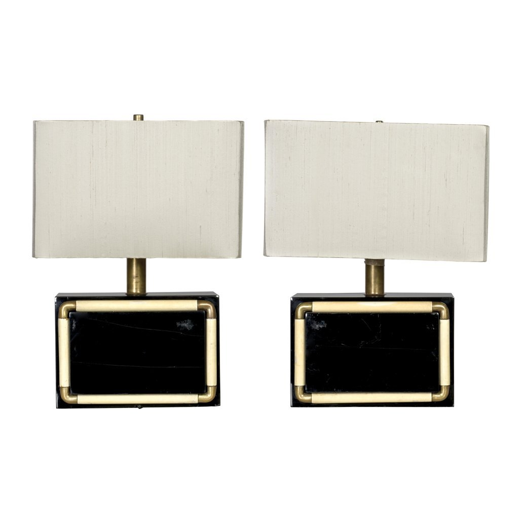 Arturo Pani. Pair of lacquered wood and brass table