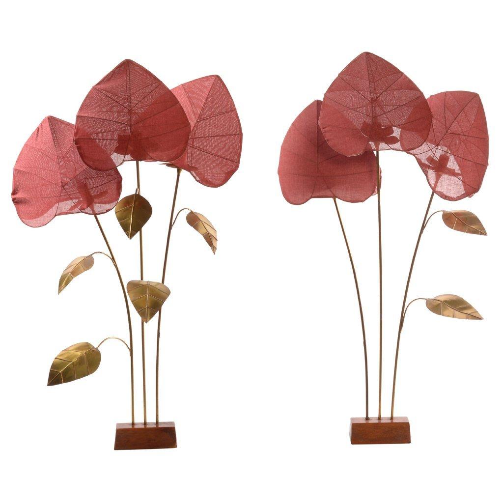 Arturo Pani. Pair of vegetal-shaped brass floor lamps.