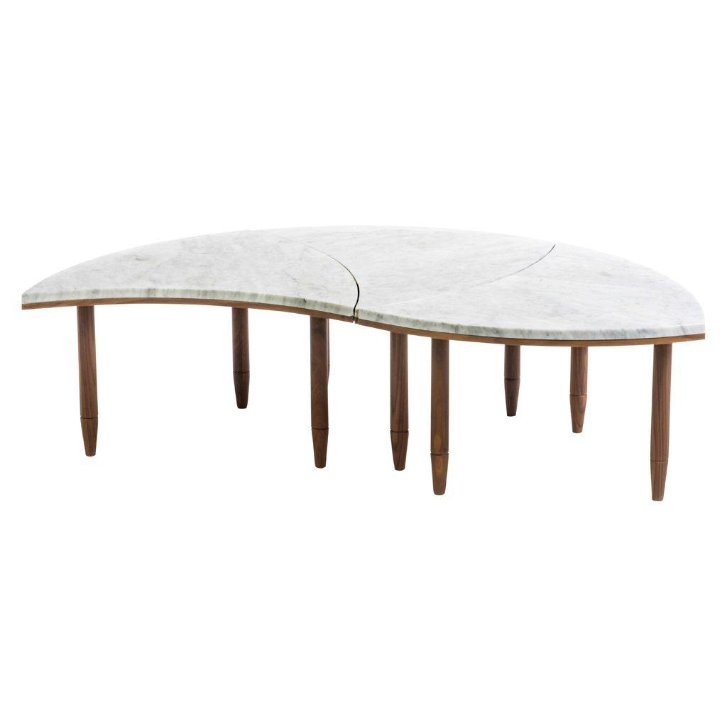 Mahogany an Carrara marble 3-module center table.