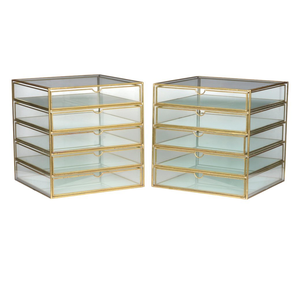 Pair of brass and glass showcases with 5 drawers.