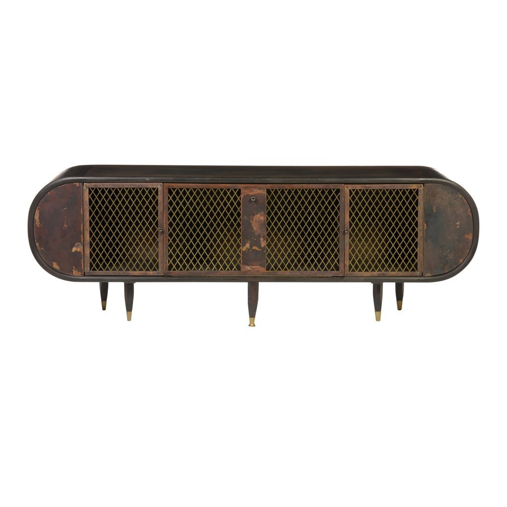 Oval brown wood and coppered metal credenza. 1970 s.