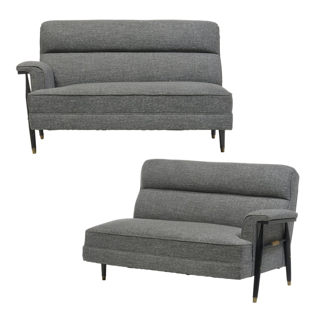Pair of lacquered wood and grey fabric upholstery