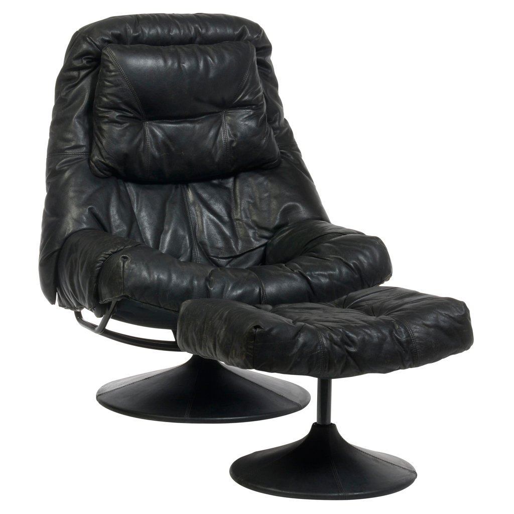 Italian style metal and black leather upholstery swivel