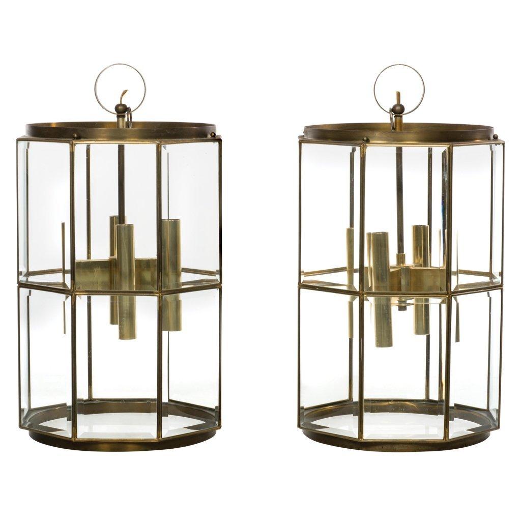 Gaetano Sciolari. 1950 s. Pair of octagonal brass and