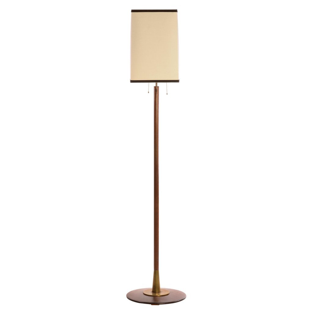 Wood floor lamp. For 3 light bulbs. With trapezoidal