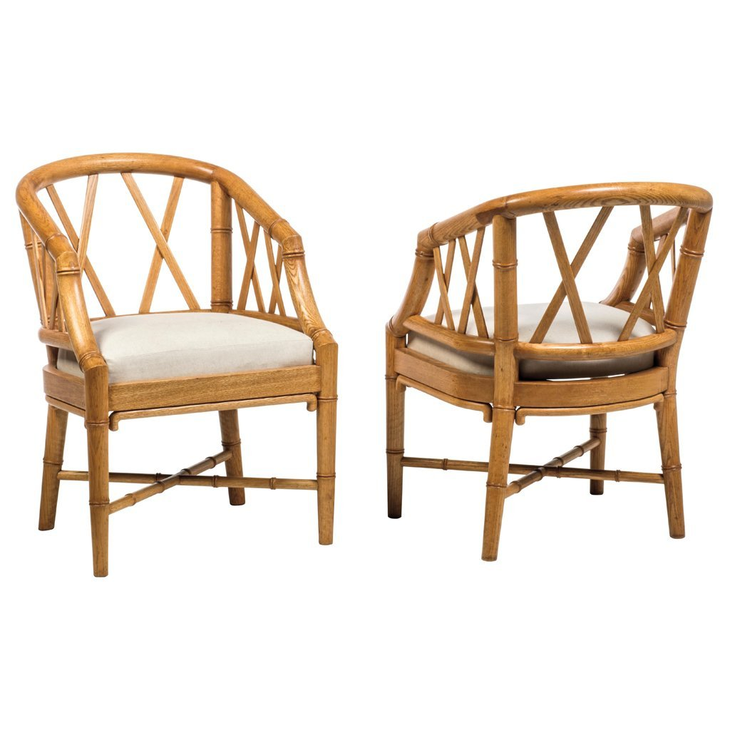 Pair of oak and gray fabric upholstery faux bamboo