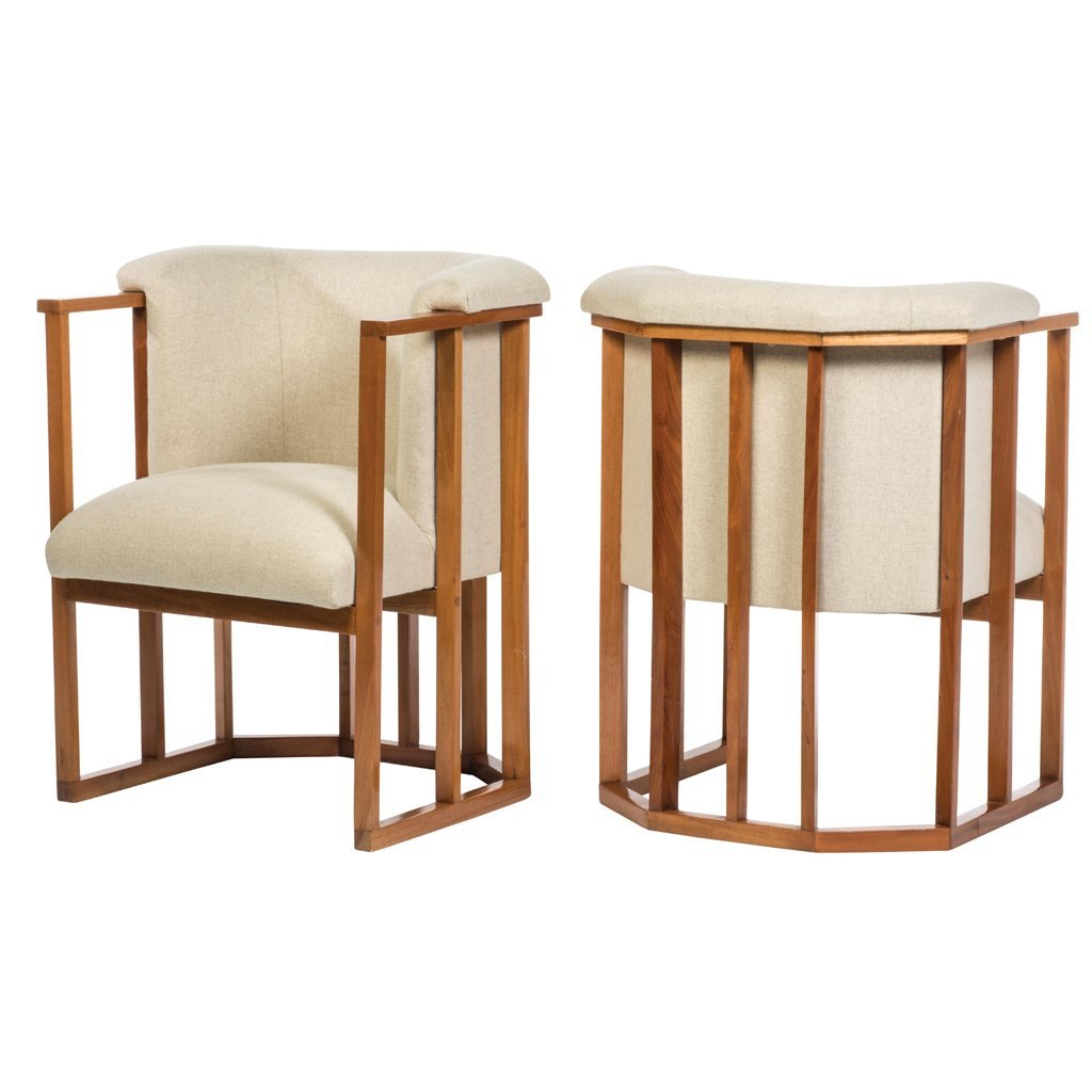 Pair of oak and beige cloth upholstery armchairs.