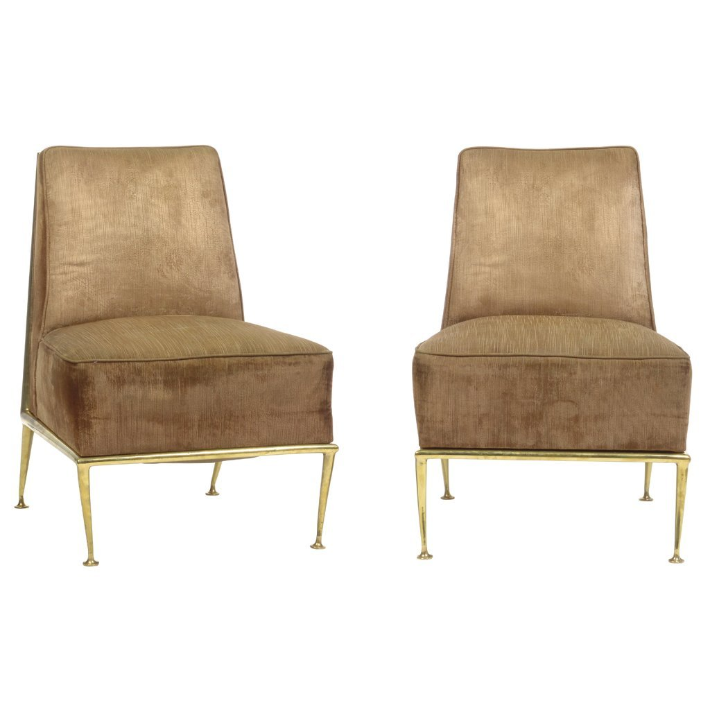 Arturo Pani. 1950 s. Pair of brass and brown fabric