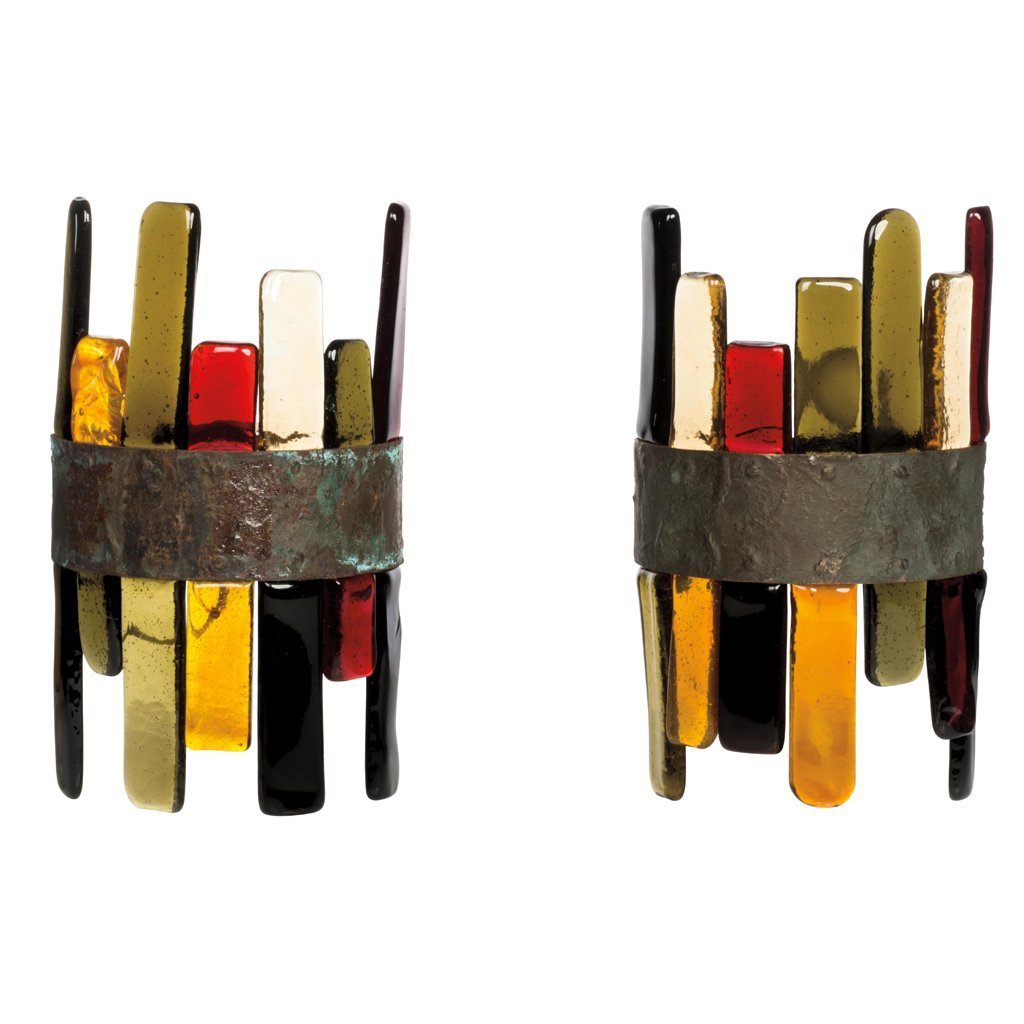 Feders. Mexico. 1970 s. Pair of Brutalist style coppery