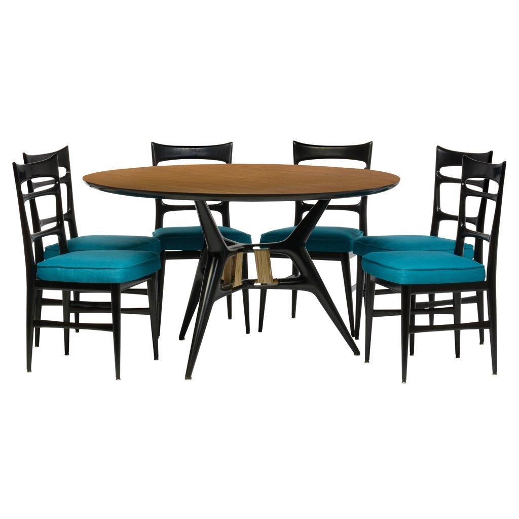 Eugenio Escudero. 1950 s. Black lacquered wood dining