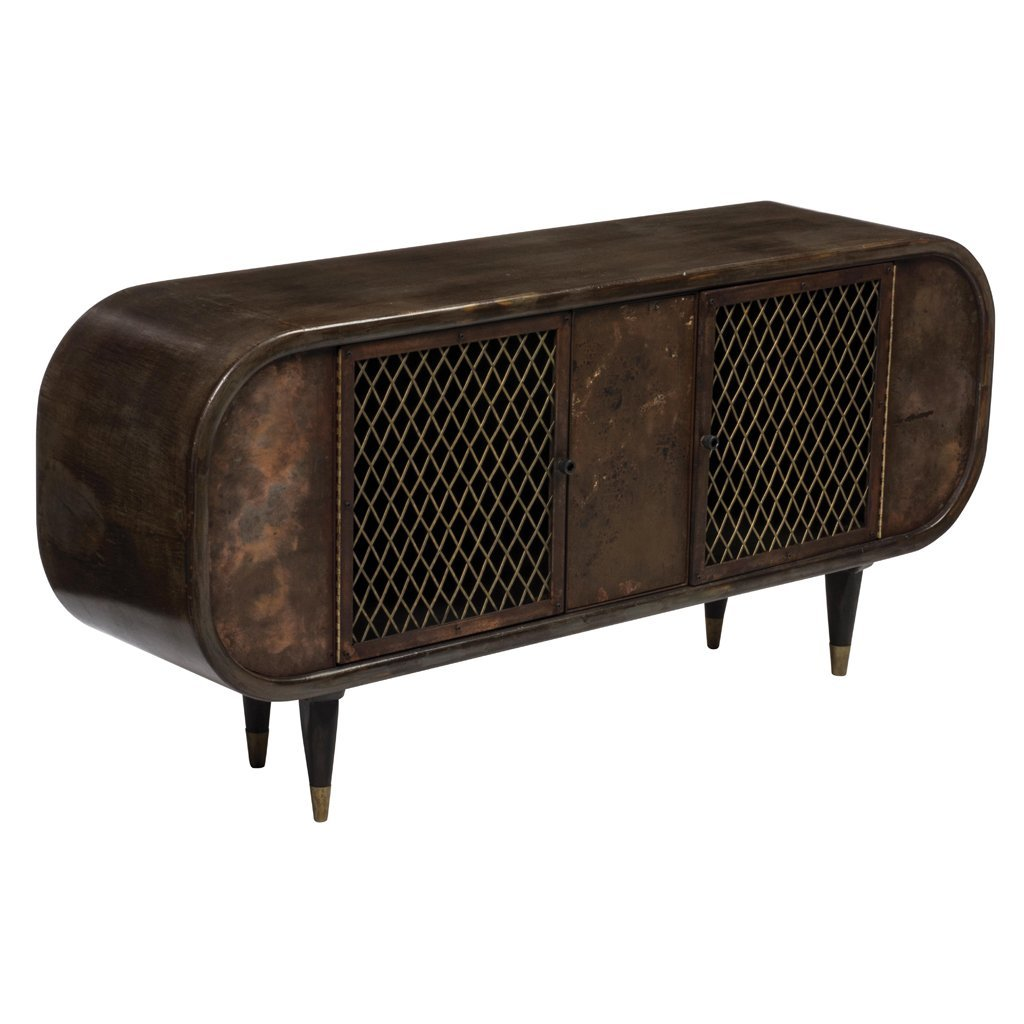 Brown wood and coppery metal oval credenza with 2