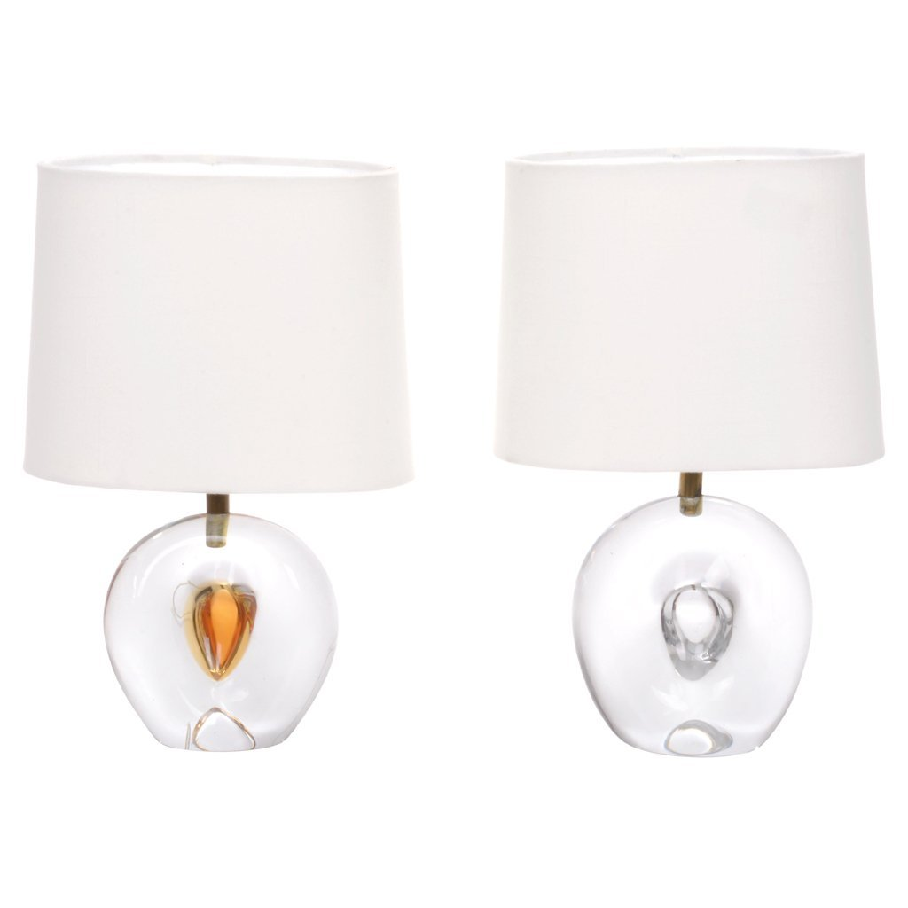 Pair of Murano glass table lamps. 1950 s. For 1 light