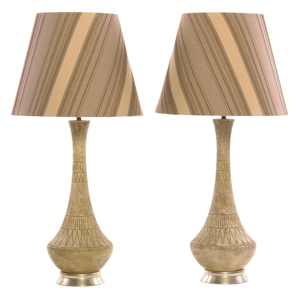 Pair of resin table lamps. 1960 s. For 1 light bulb.