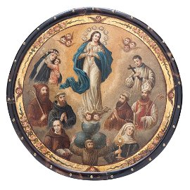 NUN'S SHIELD. IMMACULATE CONCEPTION WITH SAINTS
