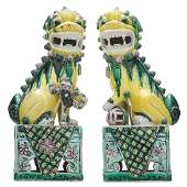 PAIR OF CHINESE GUARDIAN LIONS FU CHINA EARLY 20th