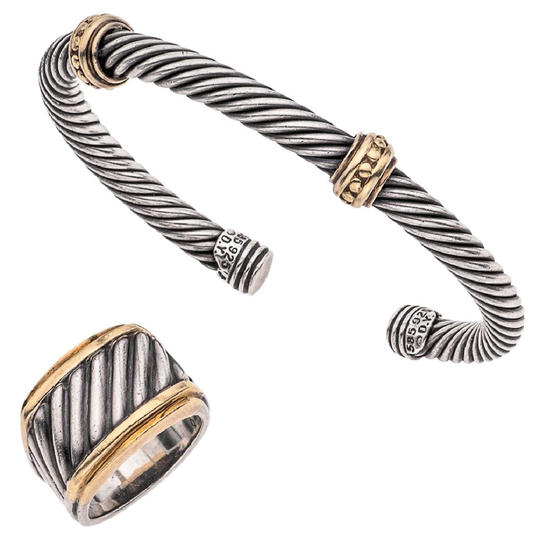 A DAVID YURMAN sterling silver and 14K yellow gold