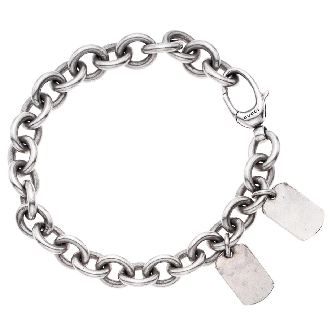 A GUCCI sterling silver bracelet. Weight: 63.9 g.