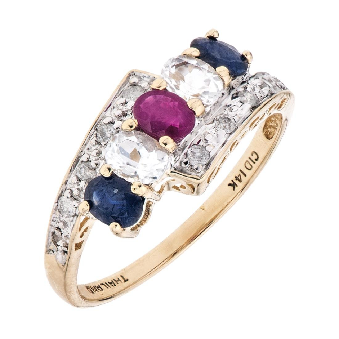 A 14K yellow gold ring with ruby, sapphires, quartz and