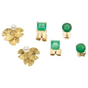 An 18K and two 14K yellow gold pairs of stud earrings