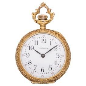 WALTHAM 14K yellow gold pocket watch. Manual.