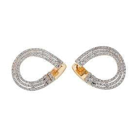 A 14K yellow gold pair of earrings with 198 single cut