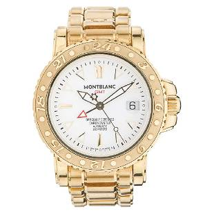 MONTBLANC GMT wristwatch. 18K yellow gold case and