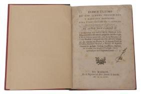 Rubin de Cevallos, Agustin. indice ultimo de los Libros